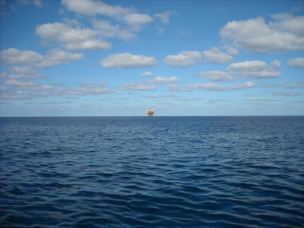 Apache Oil Platform (EI 346A) in the Gulf of Mexico. Are you ever alone at sea?