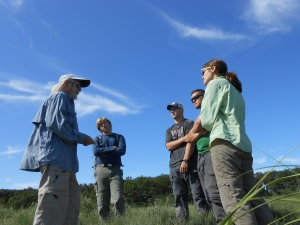 Scott Warren holding class in the marshes of Rowley, Massachusetts