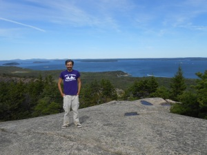 David survives Beehive Mountain (Frenchman Bay in the back)