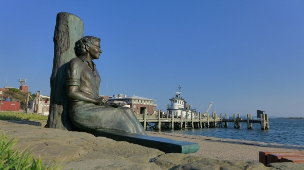 The statue of Rachel Carson over looking Woods Hole.